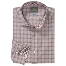 Thomas Dean Cotton Check Sport Shirt - Long Sleeve (For Men) in Sand - Closeouts