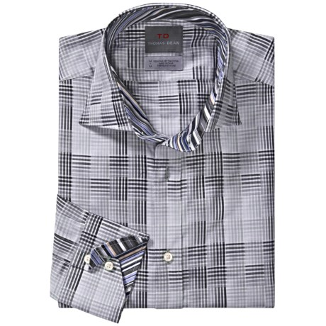 Thomas Dean Cotton Plaid Sport Shirt - Long Sleeve (For Men) in Grey Multi