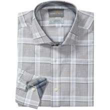 Thomas Dean Cotton Plaid Sport Shirt - Long Sleeve (For Men) in Grey - Closeouts