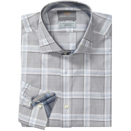 Thomas Dean Cotton Plaid Sport Shirt - Long Sleeve (For Men) in Grey