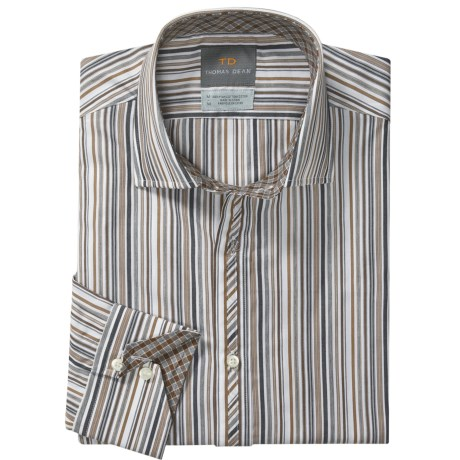 Thomas Dean Cotton Stripe Sport Shirt - Long Sleeve  (For Men and Tall Men) in Brown/White