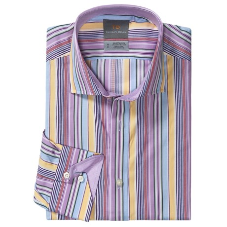 Thomas Dean Cotton Stripe Sport Shirt - Long Sleeve  (For Men and Tall Men) in Lilac/Tan/Red