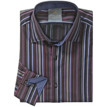 Thomas Dean Cotton Stripe Sport Shirt - Long Sleeve  (For Men and Tall Men) in Red - Closeouts