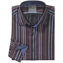 Thomas Dean Cotton Stripe Sport Shirt - Long Sleeve  (For Men and Tall Men) in Grey/Blue