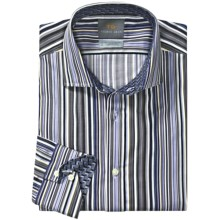 Thomas Dean Cotton Stripe Sport Shirt - Long Sleeve (For Men) in Blue/Brown - Closeouts