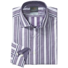 Thomas Dean Cotton Stripe Sport Shirt - Long Sleeve (For Men) in Lilac/White - Closeouts