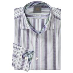Thomas Dean Cotton Stripe Sport Shirt - Long Sleeve (For Men) in Purple