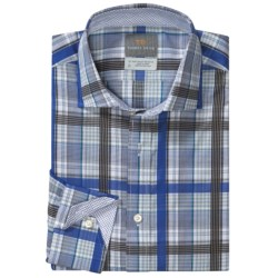 Thomas Dean Cotton Windowpane Sport Shirt - Long Sleeve (For Men) in Blue