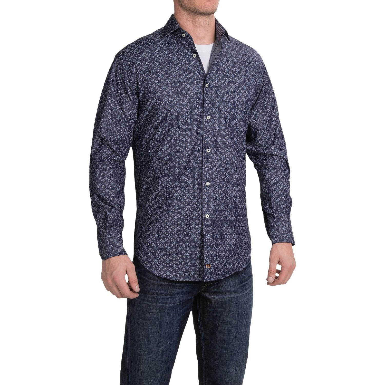 Thomas dean denim print button down sport shirt for men for Denim button down shirts