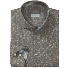 Thomas Dean Floral Print Sport Shirt - Spread Collar, Long Sleeve (For Men) in Grey - Closeouts