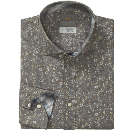 Thomas Dean Floral Print Sport Shirt - Spread Collar, Long Sleeve (For Men) in Grey