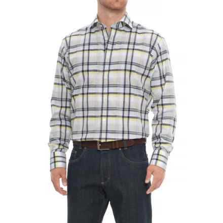Thomas Dean Gingham Sport Shirt - Long Sleeve (For Men) in Blue - Closeouts