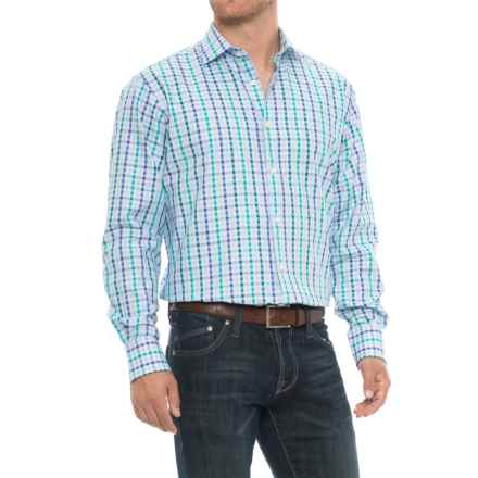 Thomas Dean Gingham Sport Shirt - Long Sleeve (For Men) in Green - Closeouts