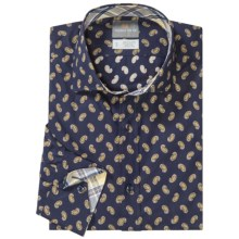 Thomas Dean Mini Print Shirt - Spread Collar, Long Sleeve (For Men) in Navy - Closeouts