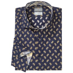 Thomas Dean Mini Print Shirt - Spread Collar, Long Sleeve (For Men) in Brown