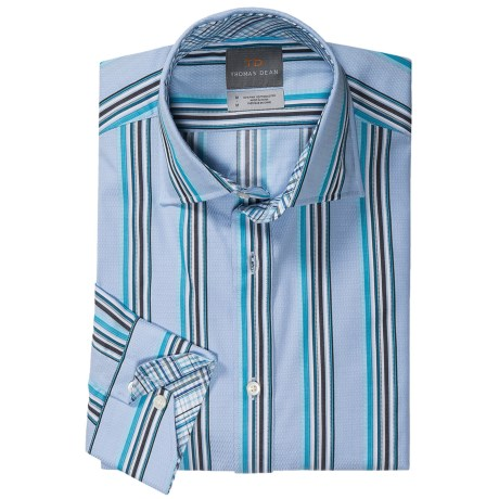 Thomas Dean Multi-Stripe Sport Shirt - Long Sleeve (For Men) in Aqua
