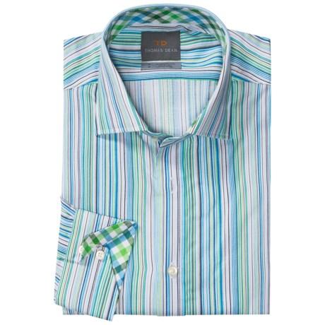 Thomas Dean Multi-Stripe Sport Shirt - Long Sleeve (For Men) in Blue