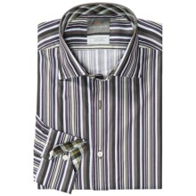 Thomas Dean Pima Cotton Bar Stripe Shirt - Long Sleeve (For Men) in Purple - Closeouts