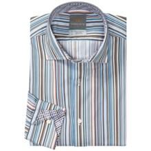 Thomas Dean Pima Cotton Multi-Stripe Shirt - Long Sleeve (For Men) in Blue Multi Stripe - Closeouts