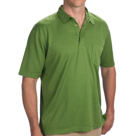 Thomas Dean Pima Cotton Polo Shirt - Short Sleeve (For Men) in White