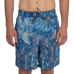 Thomas Dean Relaxed Fit Printed Swim Trunks - Mesh Inner Brief (For Men) in Blue