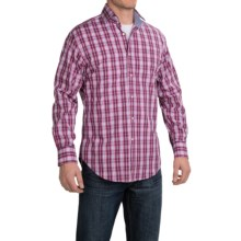 Thomas Dean Twill Check Sport Shirt - Pima Cotton, Long Sleeve (For Men) in Orange/Pink - Closeouts