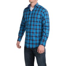Thomas Dean Twill Check Sport Shirt - Pima Cotton, Long Sleeve (For Men) in Royal Blue - Closeouts