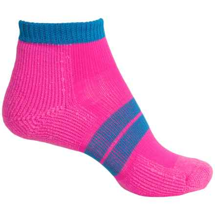Thorlo 84 Needle Runner Micro Socks - Ankle (For Women) in Electric Pink/Blus Aster - 2nds