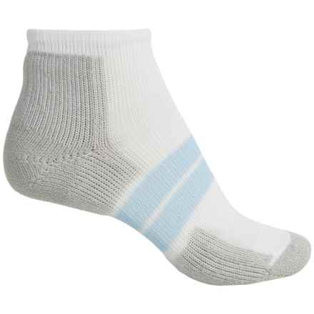 Thorlo 84 Needle Runner Micro Socks - Ankle (For Women) in White/Grey/Pale Blue - 2nds