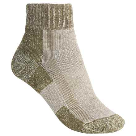 Thorlo Light Hiking CoolMax® Socks - Light Cushion, Quarter Crew (For Women) in Khaki Heather - 2nds