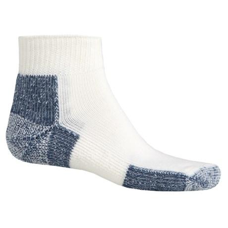 Thorlo Running Mini Crew Socks - Quarter Crew (For Men and Women) in White/Navy