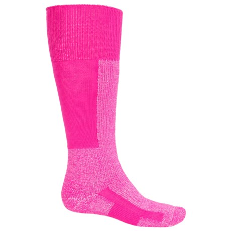 Thorlo Thick Cushion Ski Socks - Over the Calf (For Men and Women) in Pink/White