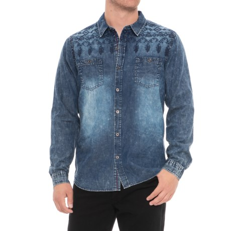 Thread & Cloth Embroidered Button-Down Shirt - Long Sleeve (For Men) in Indigo