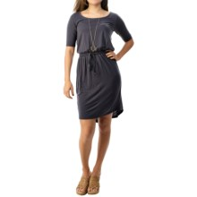 Threads 4 Thought Evelyn Dress - TENCEL®, Elbow Sleeve (For Women) in Navy - Closeouts