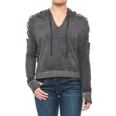 Threads 4 Thought Hazel Cropped Hoodie - Organic Cotton Blend (For Women) in Black