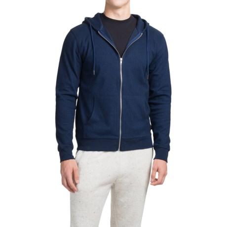 Threads 4 Thought Herringbone Triblend Hoodie - Full Zip (For Men) in Black/Blue