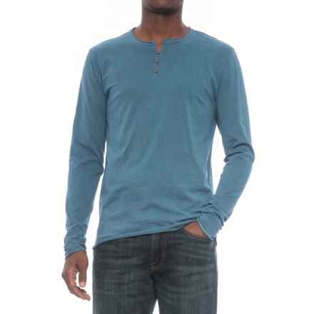 Threads 4 Thought Pigment-Dyed Henley Shirt - Organic Cotton, Long Sleeve (For Men) in Reflecting Pond - Closeouts