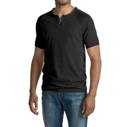 Threads 4 Thought Pigment-Dyed Henley Shirt - Organic Cotton, Short Sleeve (For Men) in Black - Closeouts