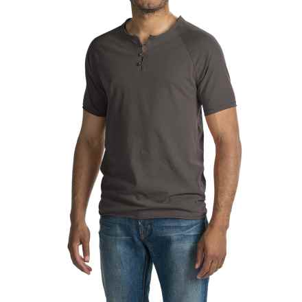 Threads 4 Thought Pigment-Dyed Henley Shirt - Organic Cotton, Short Sleeve (For Men) in Periscope - Closeouts