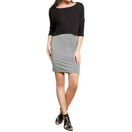 Threads 4 Thought Tobi Dress - Modal, 3/4 Sleeve (For Women) in Heather Steel/Black - Closeouts