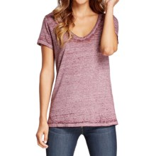 Threads 4 Thought Vintage Wash V-Neck T-Shirt - Organic Cotton, Short Sleeve (For Women) in Merlot - Closeouts