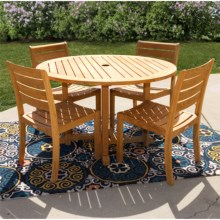 "Three Birds Casual 5-Piece Premium Teak 48"" Round Dining Set in Natural - Closeouts"