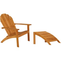 Three Birds Casual Adirondack Chair and Footstool - Teak Wood in Natural