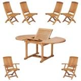 Three Birds Casual Chelsea Extendable Table with Two Braxton Folding Armchairs and Four Folding Side Chairs - 7-Piece