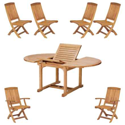 Three Birds Casual Chelsea Extendable Table with Two Braxton Folding Armchairs and Four Folding Side Chairs - 7-Piece in Natural - Closeouts