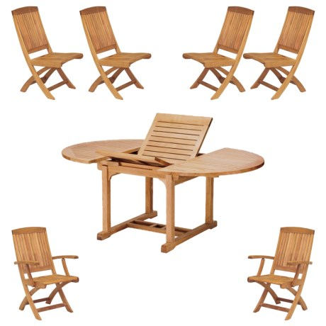 Three Birds Casual Chelsea Extendable Table with Two Braxton Folding Armchairs and Four Folding Side Chairs - 7-Piece in Natural