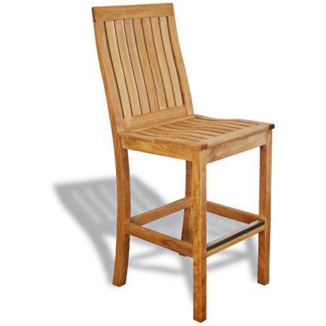 Three Birds Casual Monterey Teak Bar Chair in Teak