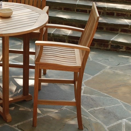 Three Birds Casual Monterey Teak Bar Chair with Arms in Natural