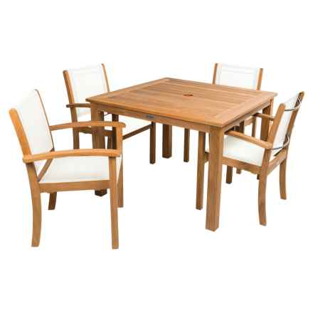 Three Birds Casual Newport Square Dining Table with Riviera Stacking Armchairs in White - Overstock