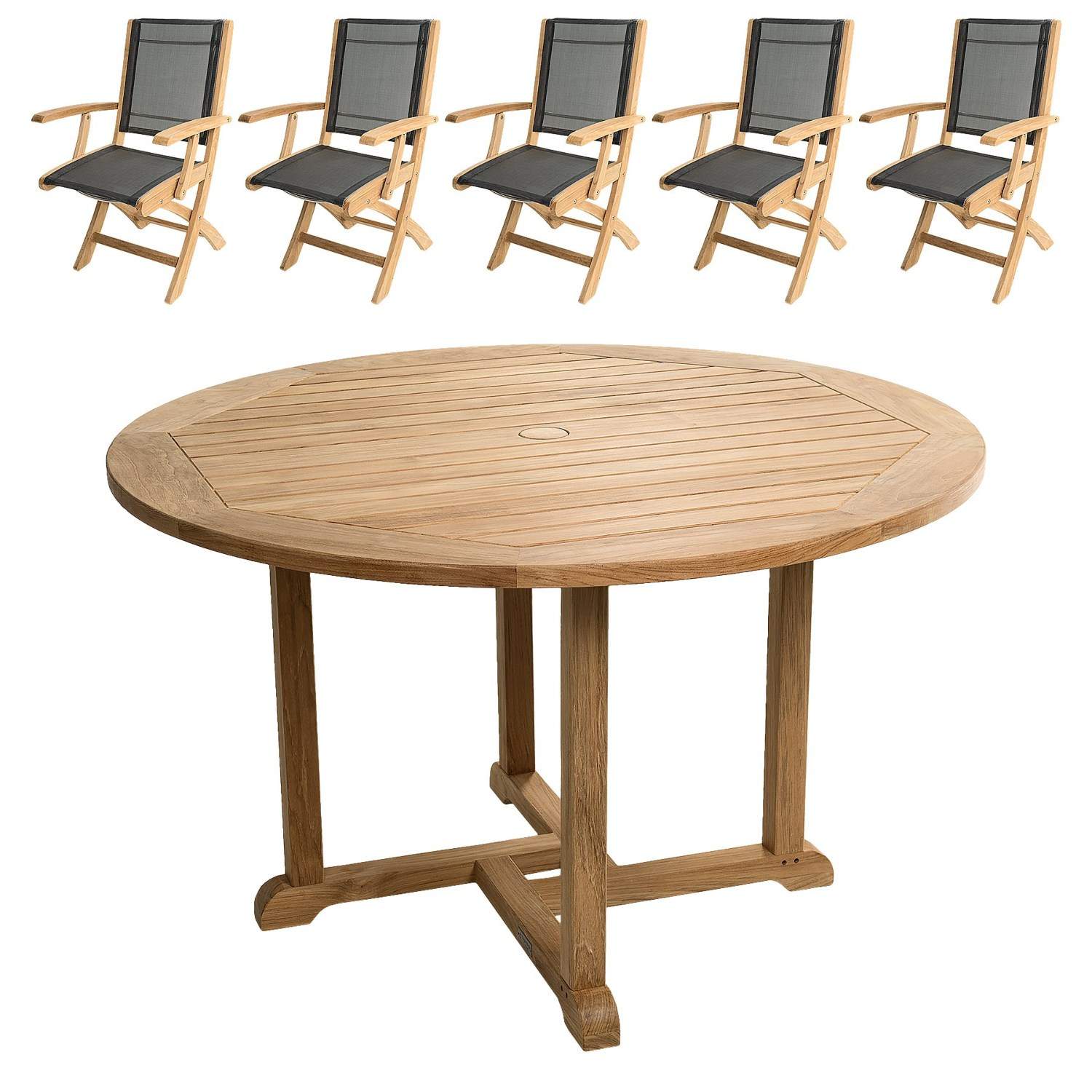 "Round Table And Chairs For 6: Three Birds Casual Premium Teak Oxford 48"" Round Dining"